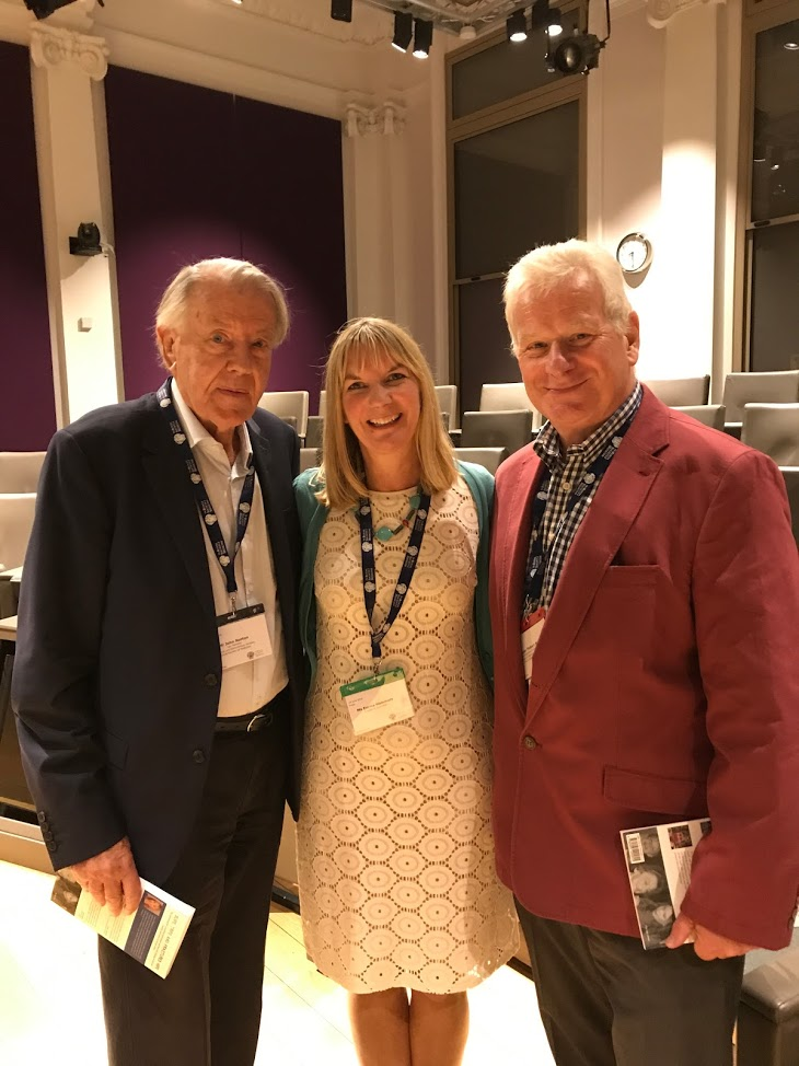 Emma Hammett with Professor Finbarr Martin and John Norton