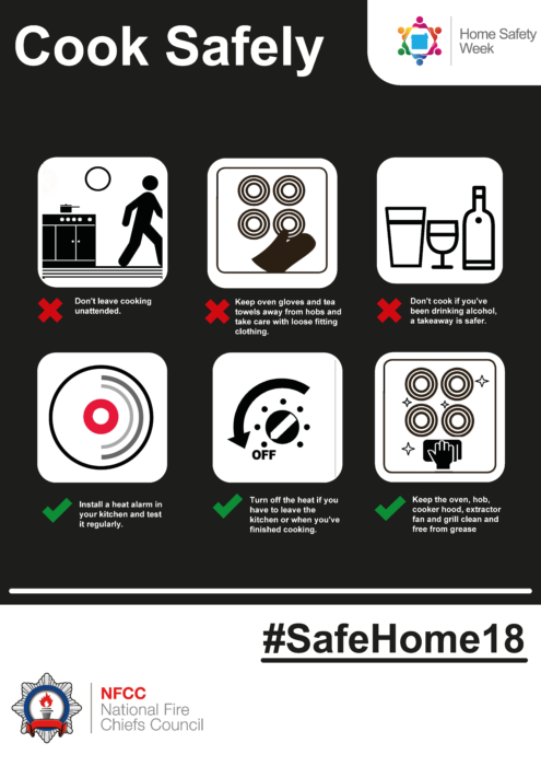 Home Safety Week cook safely poster